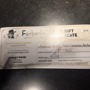 FAIRBANKS STEAKHOUSE AT HOLLYWOOD CASINO AURORA Gift Certificate #3